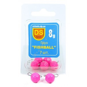 "Груз свинцовый ""FISHBALL"" блистер 7шт-8г розовый"